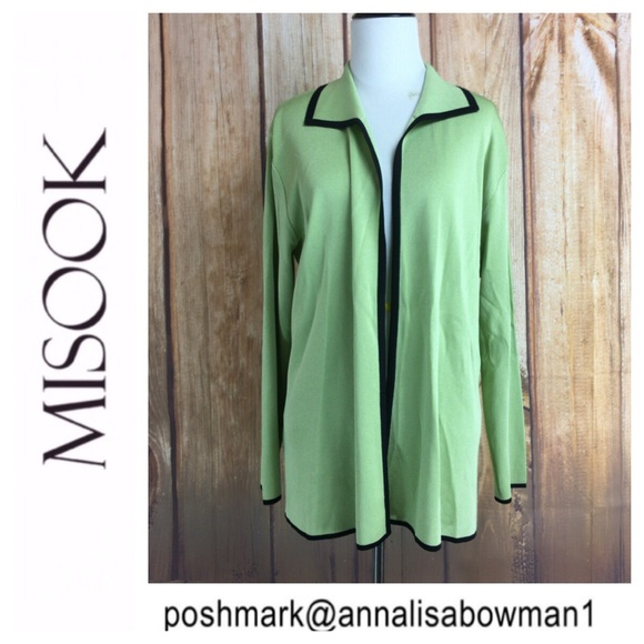 Misook Sweaters Exclusively Misook Greenblack Cardigan Size M Poshmark